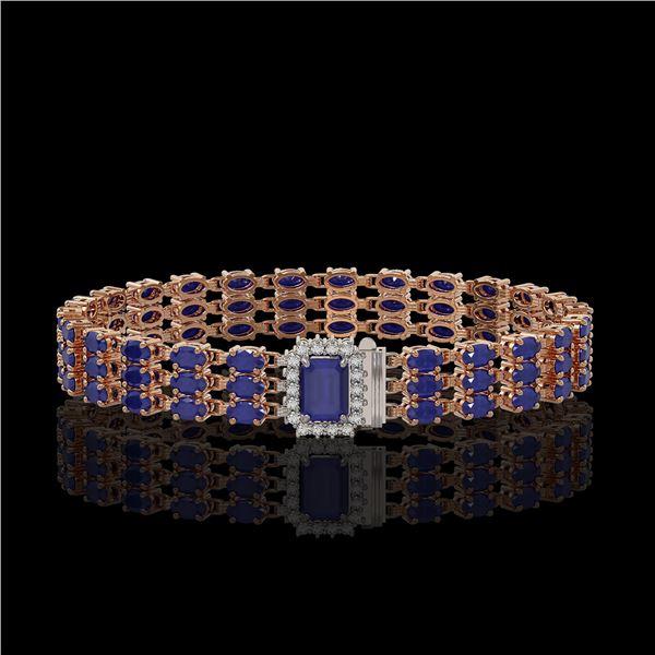 28.74 ctw Sapphire & Diamond Bracelet 14K Rose Gold - REF-318H2R