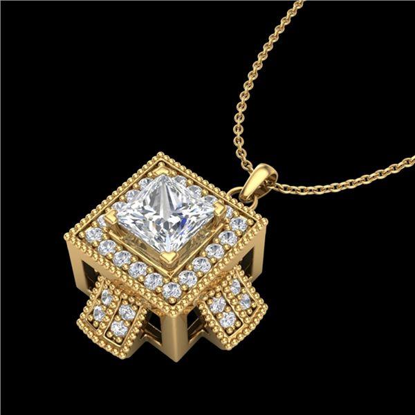 0.84 ctw Princess VS/SI Diamond Micro Pave Necklace 18k Yellow Gold - REF-149M3G