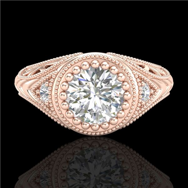 1.07 ctw VS/SI Diamond Solitaire Art Deco Ring 18k Rose Gold - REF-321N2F