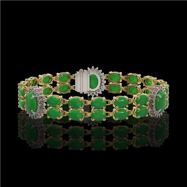 14.05 ctw Jade & Diamond Bracelet 14K Yellow Gold - REF-254G5W