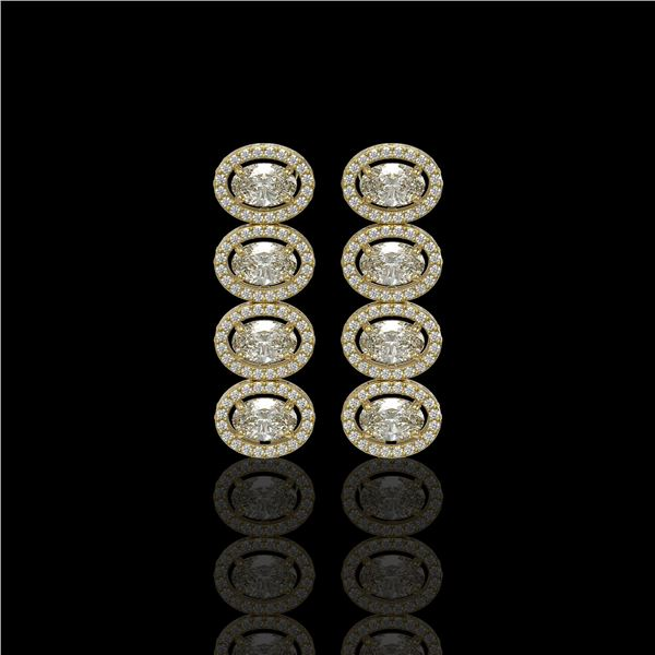 5.33 ctw Oval Cut Diamond Micro Pave Earrings 18K Yellow Gold - REF-736N8F