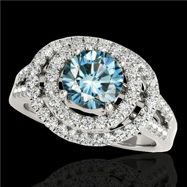 1.75 ctw SI Certified Fancy Blue Diamond Halo Ring 10k White Gold - REF-135Y2X