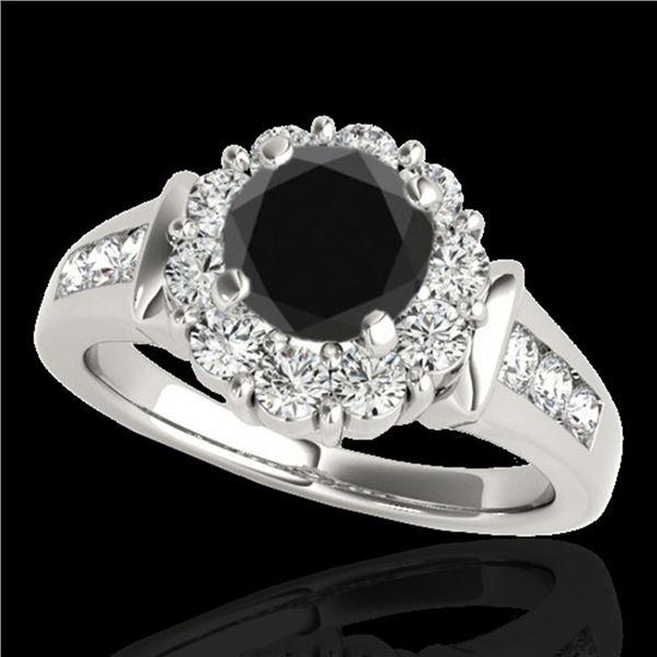 1.9 ctw Certified VS Black Diamond Solitaire Halo Ring 10k White Gold - REF-76F4M