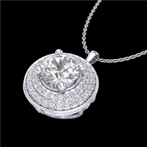 1.25 ctw VS/SI Diamond Solitaire Art Deco Necklace 18k White Gold - REF-272H8R