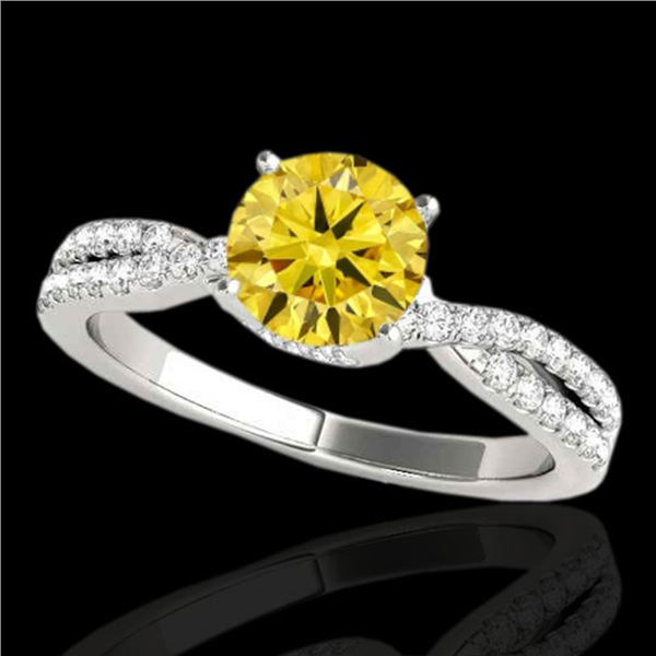 1.3 ctw Certified SI/I Fancy Intense Yellow Diamond Ring 10k White Gold - REF-197X8A