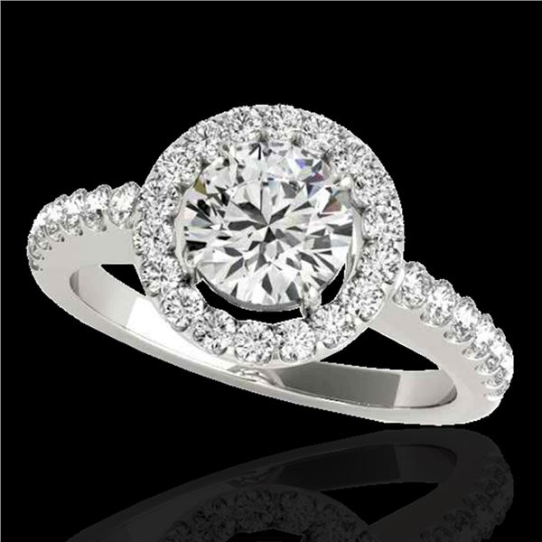 1.65 ctw Certified Diamond Solitaire Halo Ring 10k White Gold - REF-211R4K