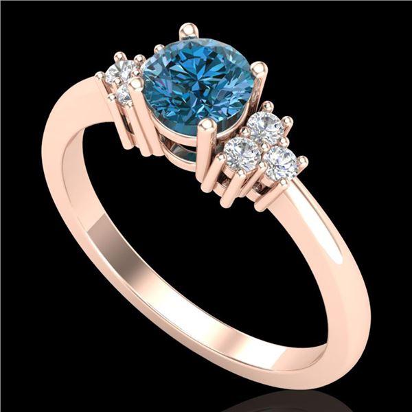 0.75 ctw Fancy Intense Blue Diamond Engagment Ring 18k Rose Gold - REF-89G3W