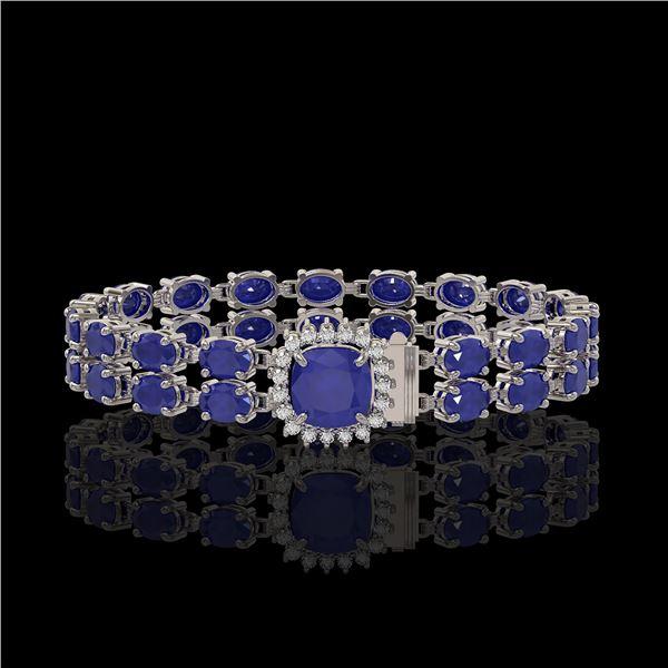 19.85 ctw Sapphire & Diamond Bracelet 14K White Gold - REF-245N5F