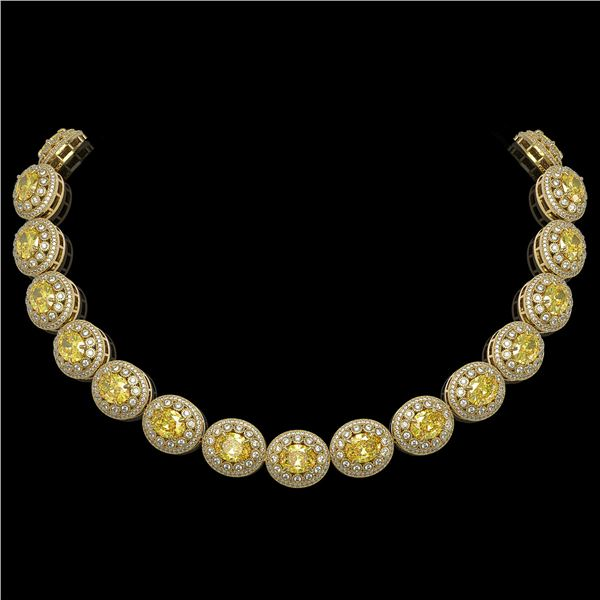 89.35 ctw Canary Citrine & Diamond Victorian Necklace 14K Yellow Gold - REF-2454H5R