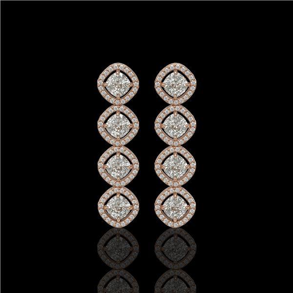 5.28 ctw Cushion Cut Diamond Micro Pave Earrings 18K Rose Gold - REF-736R2K