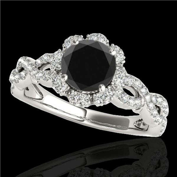 1.69 ctw Certified VS Black Diamond Solitaire Halo Ring 10k White Gold - REF-66X8A