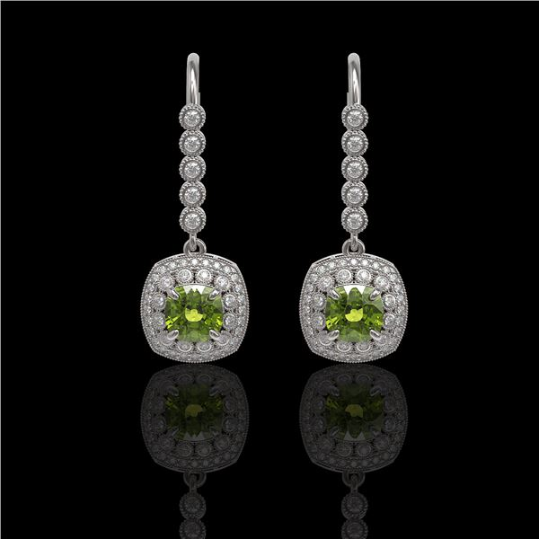 4.5 ctw Tourmaline & Diamond Victorian Earrings 14K White Gold - REF-172G8W
