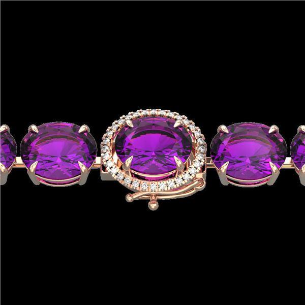 78 ctw Amethyst & Micro VS/SI Diamond Bracelet 14k Rose Gold - REF-218F2M