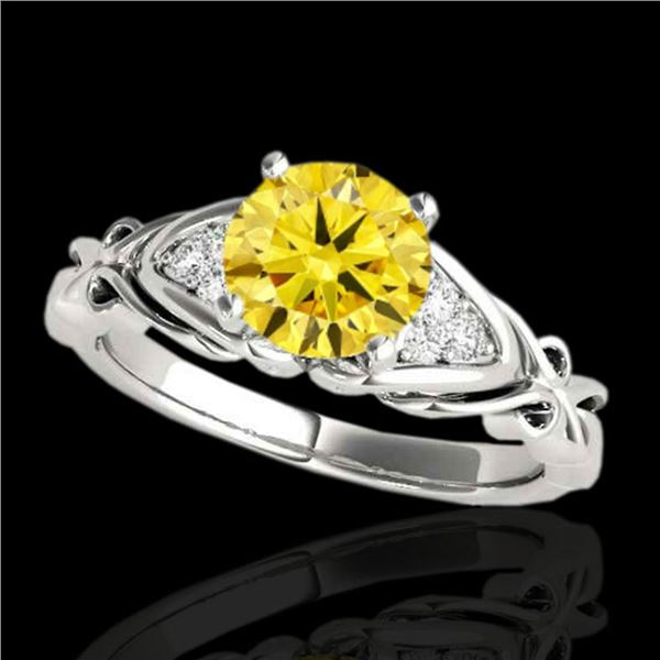 1.1 ctw Certified SI Fancy Yellow Diamond Solitaire Ring 10k White Gold - REF-177N3F