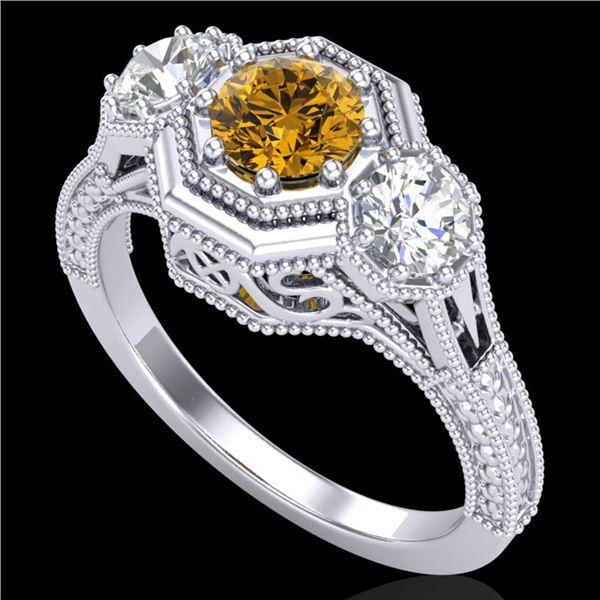 1.05 ctw Intense Fancy Yellow Diamond Art Deco Ring 18k White Gold - REF-200W2H