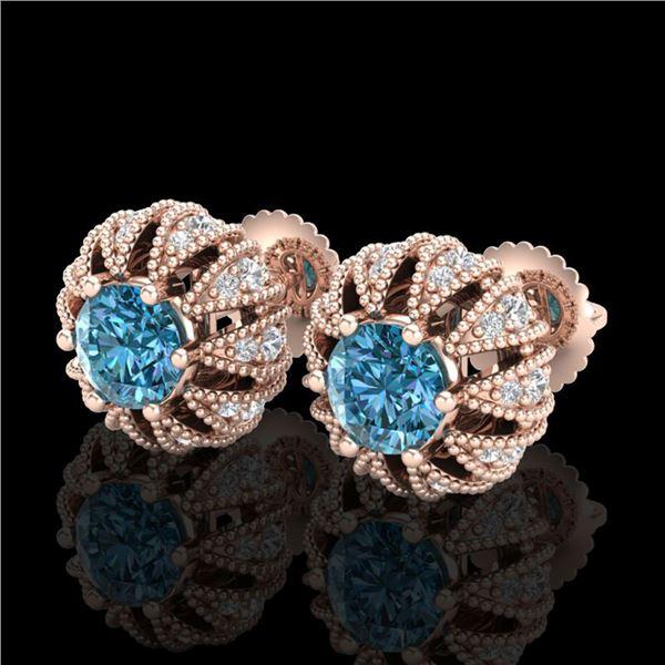 2.01 ctw Fancy Intense Blue Diamond Art Deco Earrings 18k Rose Gold - REF-210K9Y