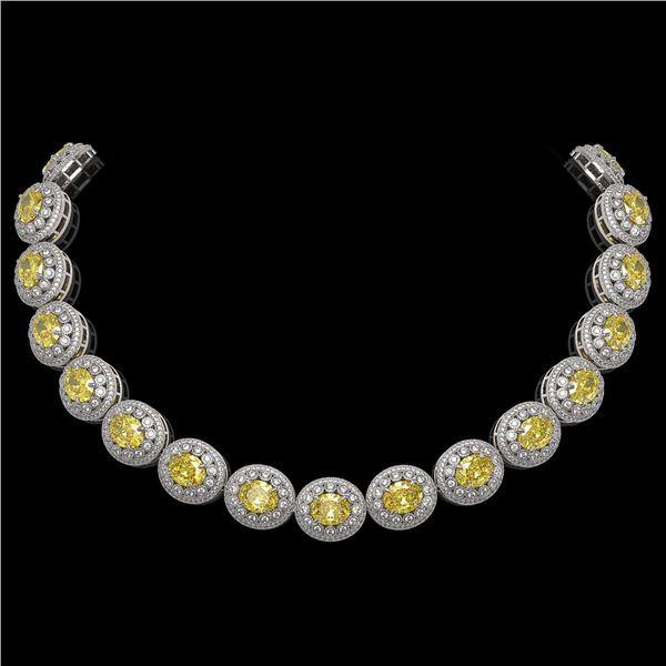 89.35 ctw Canary Citrine & Diamond Victorian Necklace 14K White Gold - REF-2454F5M