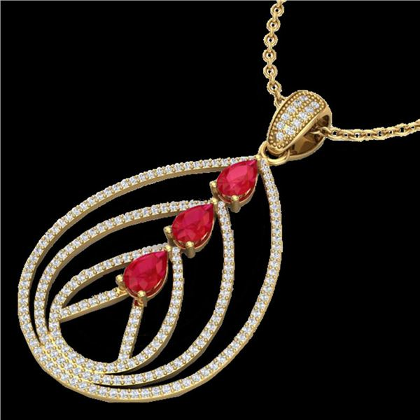 2 ctw Ruby & Micro Pave VS/SI Diamond Designer Necklace 18k Yellow Gold - REF-163F6M