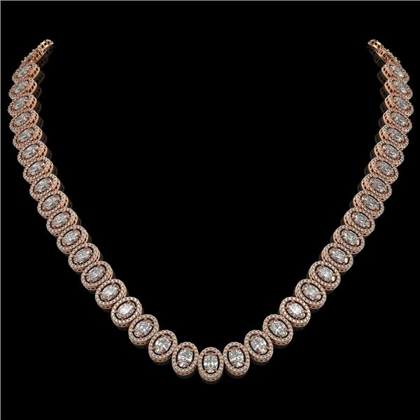 34.72 ctw Oval Cut Diamond Micro Pave Necklace 18K Rose Gold - REF-4700N9F