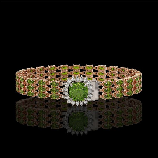 28.56 ctw Tourmaline & Diamond Bracelet 14K Rose Gold - REF-404W8H