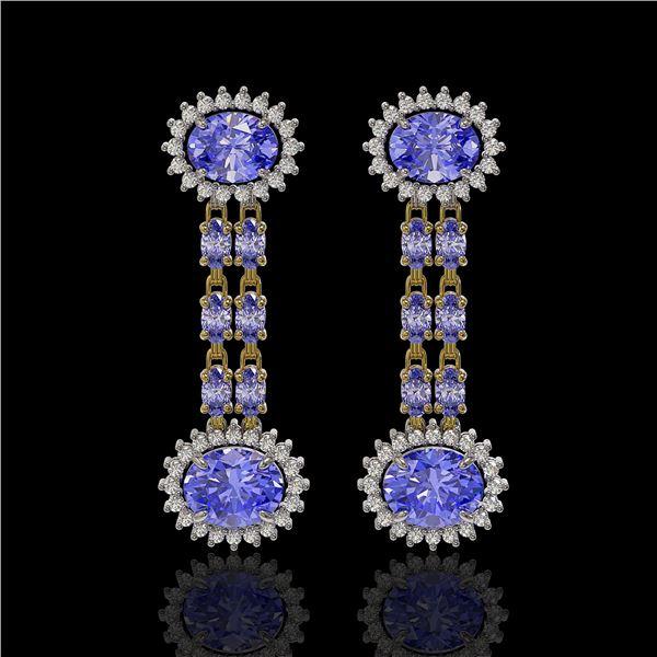 9.01 ctw Tanzanite & Diamond Earrings 14K Yellow Gold - REF-227X3A