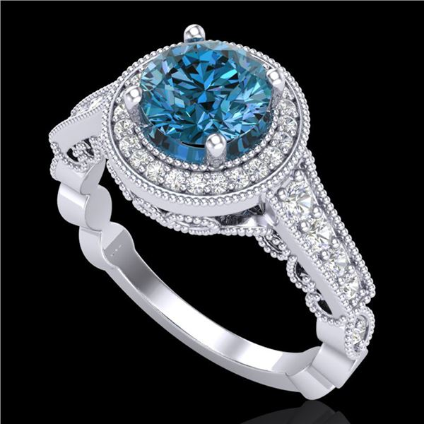 1.91 ctw Fancy Intense Blue Diamond Art Deco Ring 18k White Gold - REF-263W6H