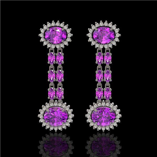 8.19 ctw Amethyst & Diamond Earrings 14K White Gold - REF-144M5G