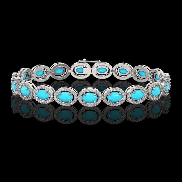 11.40 ctw Turquoise & Diamond Micro Pave Halo Bracelet 10k White Gold - REF-227F8M