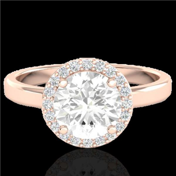 1.75 ctw Halo VS/SI Diamond Certified Micro Pave Ring 14k Rose Gold - REF-490N9F