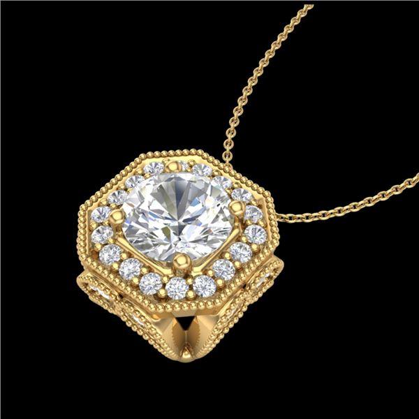 1.54 ctw VS/SI Diamond Solitaire Art Deco Necklace 18k Yellow Gold - REF-409A3N