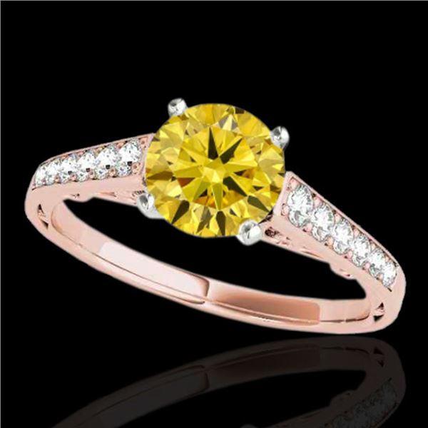 1.35 ctw Certified SI/I Fancy Intense Yellow Diamond Ring 10k Rose Gold - REF-177A3N