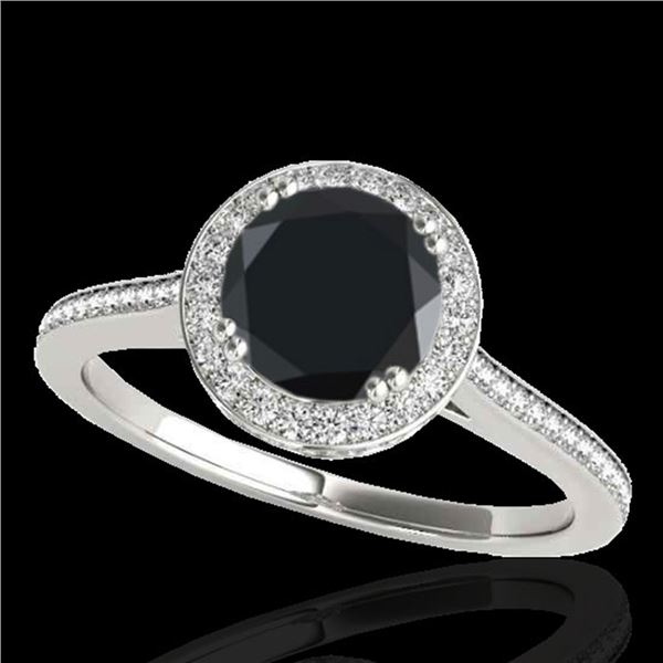 2.03 ctw Certified VS Black Diamond Solitaire Halo Ring 10k White Gold - REF-75G8W