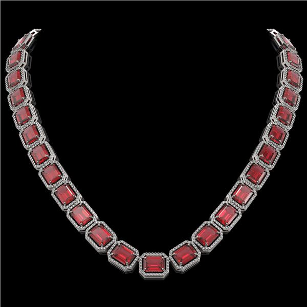 80.32 ctw Tourmaline & Diamond Micro Pave Halo Necklace 10k White Gold - REF-1178F4M