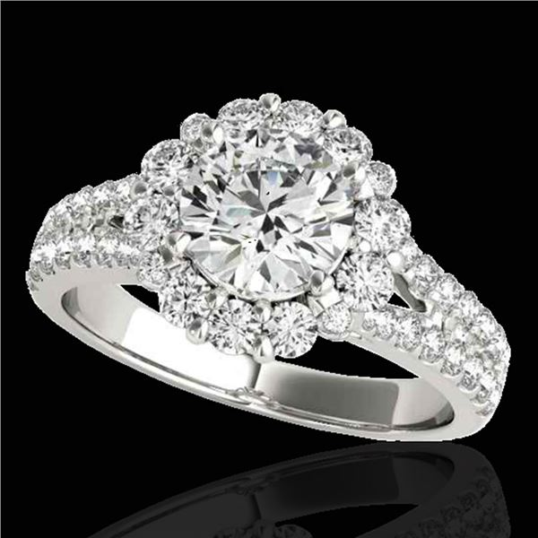 2.01 ctw Certified Diamond Solitaire Halo Ring 10k White Gold - REF-225Y2X