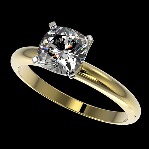 1.25 ctw Certified VS/SI Quality Cushion Cut Diamond Ring 10k Yellow Gold - REF-304W6H