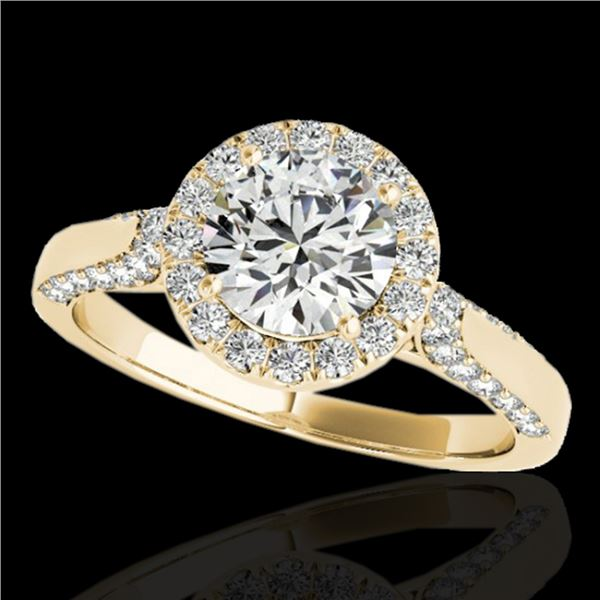 1.5 ctw Certified Diamond Solitaire Halo Ring 10k Yellow Gold - REF-204Y5X