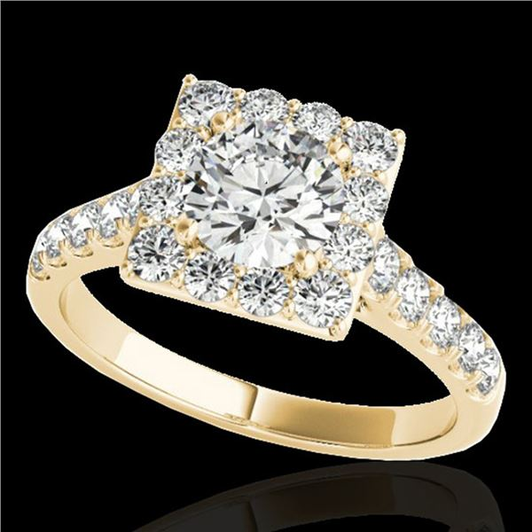 2 ctw Certified Diamond Solitaire Halo Ring 10k Yellow Gold - REF-218R2K