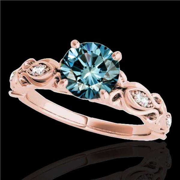 1.1 ctw SI Certified Fancy Blue Diamond Antique Ring 10k Rose Gold - REF-117W3H