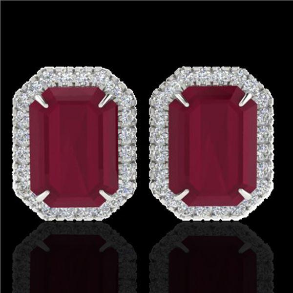 10.40 ctw Ruby & Micro Pave VS/SI Diamond Earrings 18k White Gold - REF-136G4W