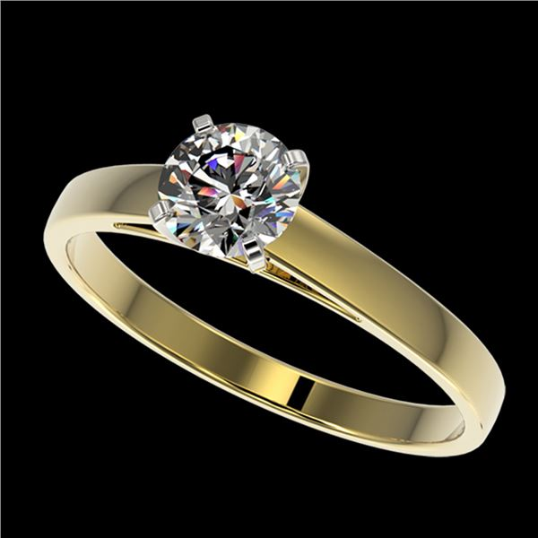 0.75 ctw Certified Quality Diamond Engagment Ring 10k Yellow Gold - REF-68H2R