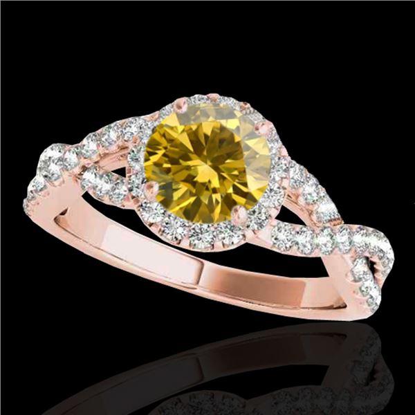 1.54 ctw Certified SI/I Fancy Intense Yellow Diamond Ring 10k Rose Gold - REF-204X5A
