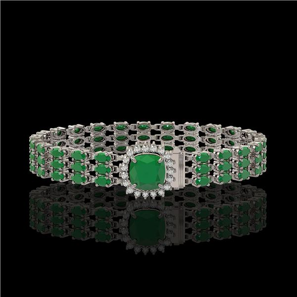 31.91 ctw Emerald & Diamond Bracelet 14K White Gold - REF-312M5G
