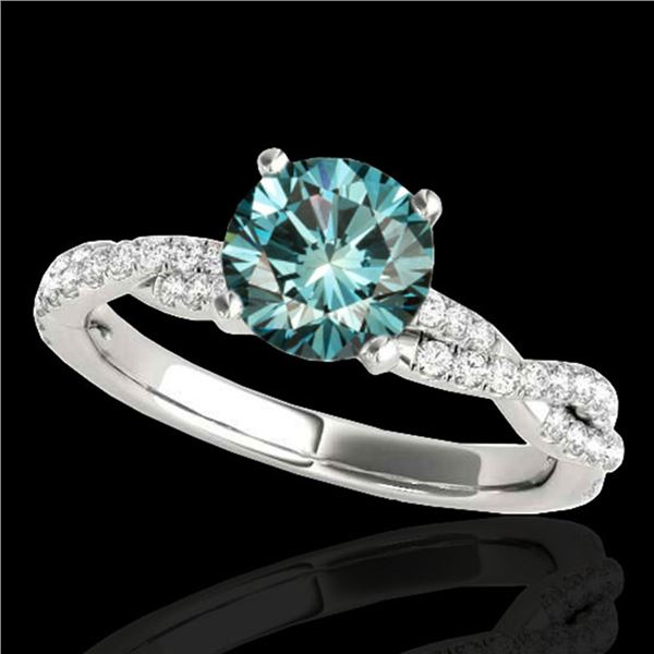 1.25 ctw SI Certified Fancy Blue Diamond Solitaire Ring 10k White Gold - REF-114Y4X