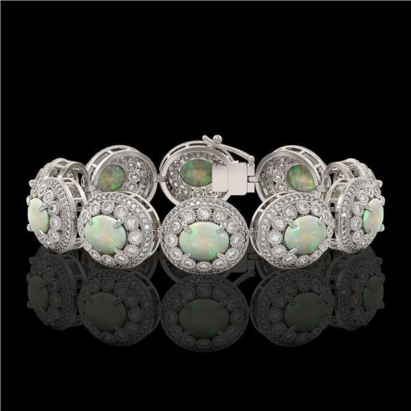 40.37 ctw Certified Opal & Diamond Victorian Bracelet 14K White Gold - REF-1402N4F