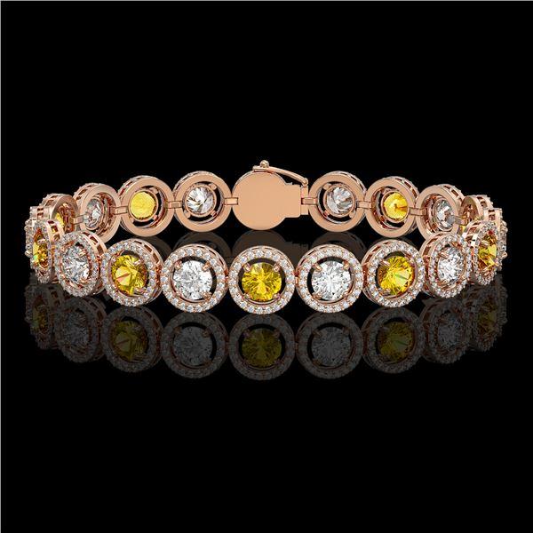 13.76 ctw Canary & Diamond Micro Pave Bracelet 18K Rose Gold - REF-1461F3M