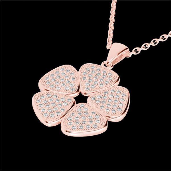 0.80 ctw Micro Pave VS/SI Diamond Designer Necklace 14k Rose Gold - REF-85N5F