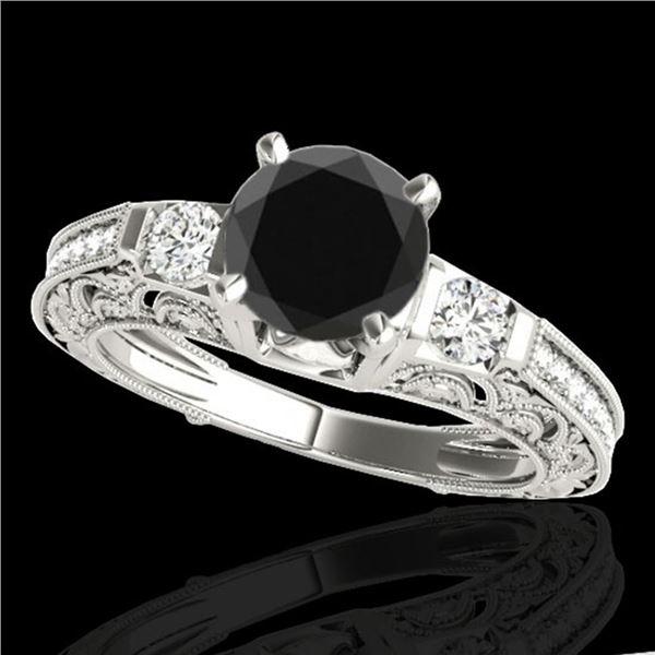 1.63 ctw Certified VS Black Diamond Solitaire Antique Ring 10k White Gold - REF-56N2F