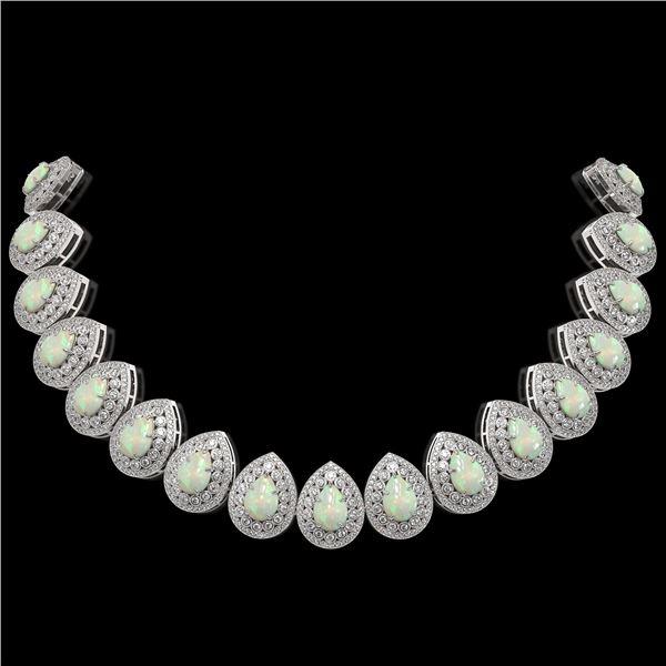 100.62 ctw Certified Opal & Diamond Victorian Necklace 14K White Gold - REF-3303K3Y