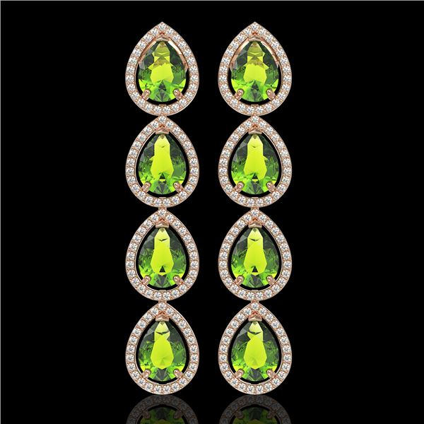 8.4 ctw Peridot & Diamond Micro Pave Halo Earrings 10k Rose Gold - REF-172K2Y