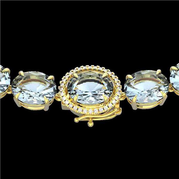 177 ctw Sky Blue Topaz & Diamond Micro Pave Necklace 14k Yellow Gold - REF-473R3K